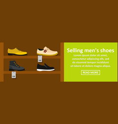 Selling mens shoes banner horizontal concept vector