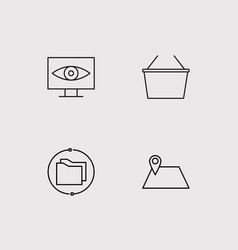 seo and marketing simple linear icons set vector image