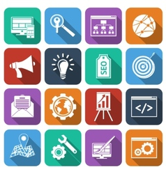 SEO Icons Flat Set vector image