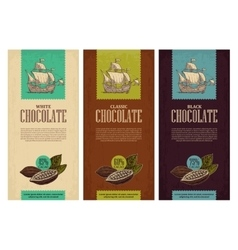 Set of label for chocolate with fruits of cocoa vector