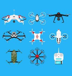 set of modern air drones quadrocopters and remote vector image