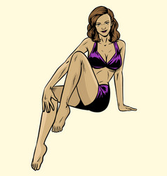 Sexy vintage pinup girl wearing swim wear vector