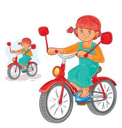 Small girl ride bikes vector