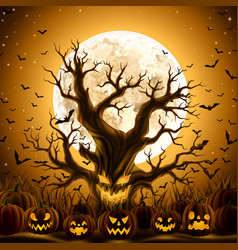 spooky evil tree with jack-o-lanterns vector image