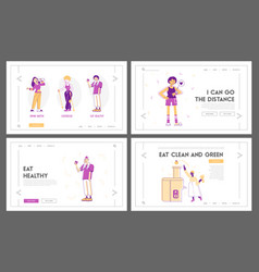 sport and food for health website landing page set vector image
