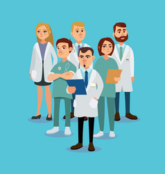 stylish and positive team of doctors vector image