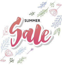 summer sale card template hand drawn lettering vector image