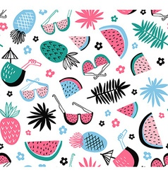 Summer seamless pattern tropical background with vector