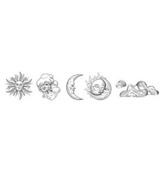 Sun and moon vintage collection oriental style vector