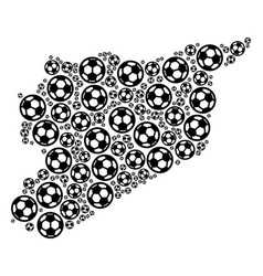 Syria map collage of soccer balls vector