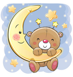 Teddy bear on moon vector