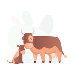 two cow look at each other animals mom and baby vector image