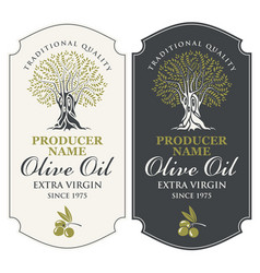 Two labels for olive oil with an olive tree vector