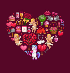 valentines day heart with gifts cupids bouquets vector image