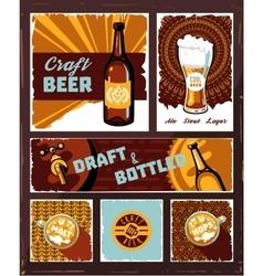Vintage craft beer banner set vector image vector image