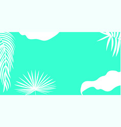 White palm leaves silhouette on a bright blue vector