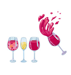 Wine glasses with champagne wine and sangria vector