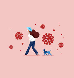woman in protective mask walking with own pet dog vector image