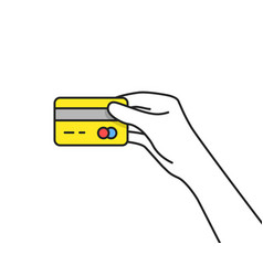 yellow credit card in thin line hand vector image