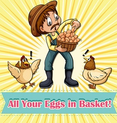All your eggs in one basket idiom vector image vector image