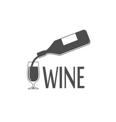 black silhouette of wine bottle and glass vector image
