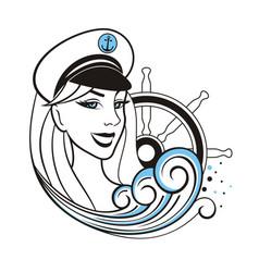 captain girl vector image