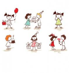 children celebrate birthday vector image
