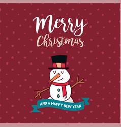 christmas and new year cute snowman cartoon card vector image