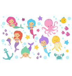 cute cartoon mermaids sea animals and ocean life vector image