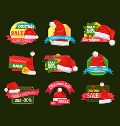 great diversity of santa hats on shopping labels vector image