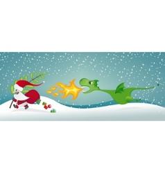 santa claus and the dragon vector image vector image