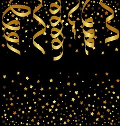 Christmas background with gold streamers and star vector image