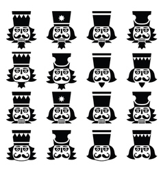 Christmas nutcracker - soldier figurine head black vector image