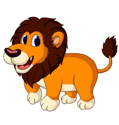 cute lion cartoon walking vector image vector image