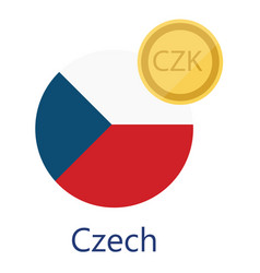 czech flag and currency vector image