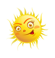 Excited face on sun vector