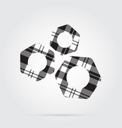 grayscale tartan isolated icon - three nuts vector image vector image
