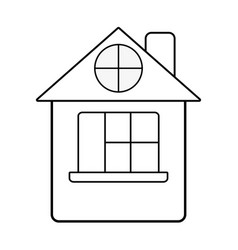 line house with roof and window vector image vector image