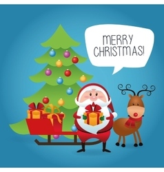 Merry Christmas concept with santa and deer icon vector image