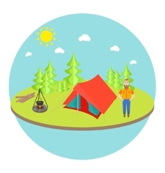 Outdoor landscape background with camp tent vector image vector image
