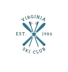 Winter sports ski club label vintage mountain vector