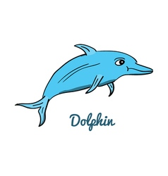 Cute cartoon dolphin vector image vector image