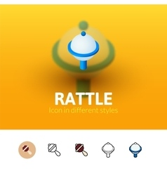 Rattle icon in different style vector image vector image