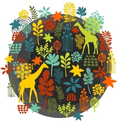 Round label with floral pattern and giraffe baby vector
