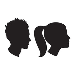 Woman and man head silhouette vector image vector image