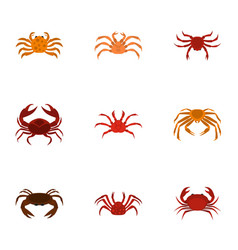 different crab icons set cartoon style vector image vector image