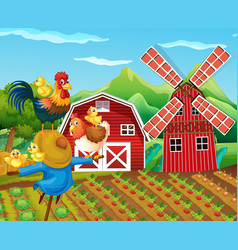 farm scene with scarecrow and chickens vector image vector image