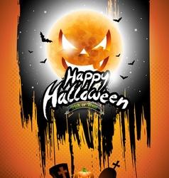 Happy Halloween with black sky and pumpkin moon vector image vector image