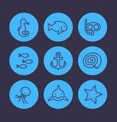 sea line icons set shark fish shell medusa vector image vector image