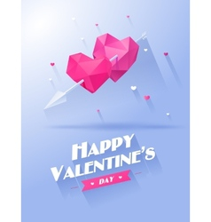 Valentines day Two hearts pink and violet on white vector image